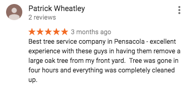 Google Review of Pensacola Tree Service LLC